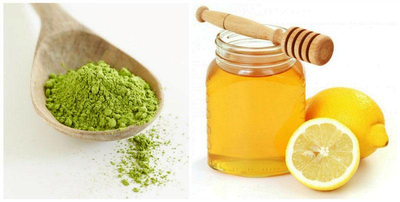 bột trà xanh và mật ong kết hợp