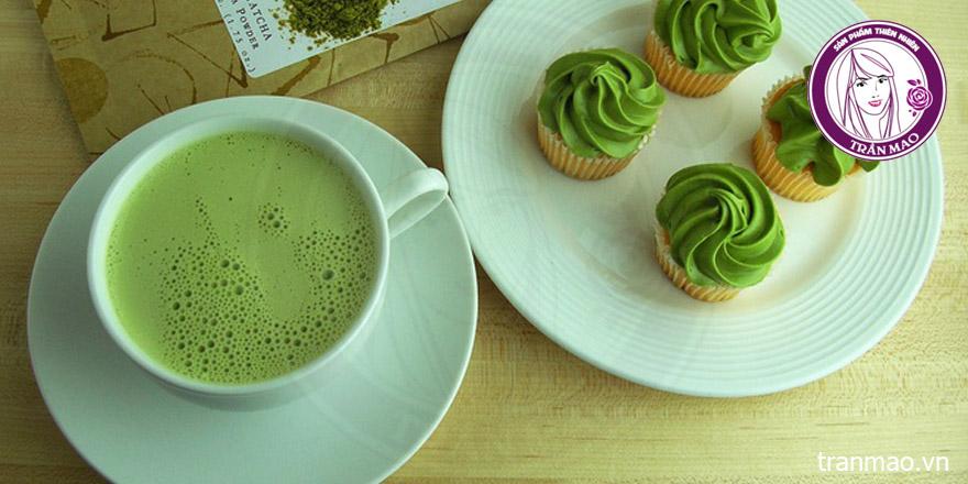Bột trà xanh làm thức uống và làm bánh